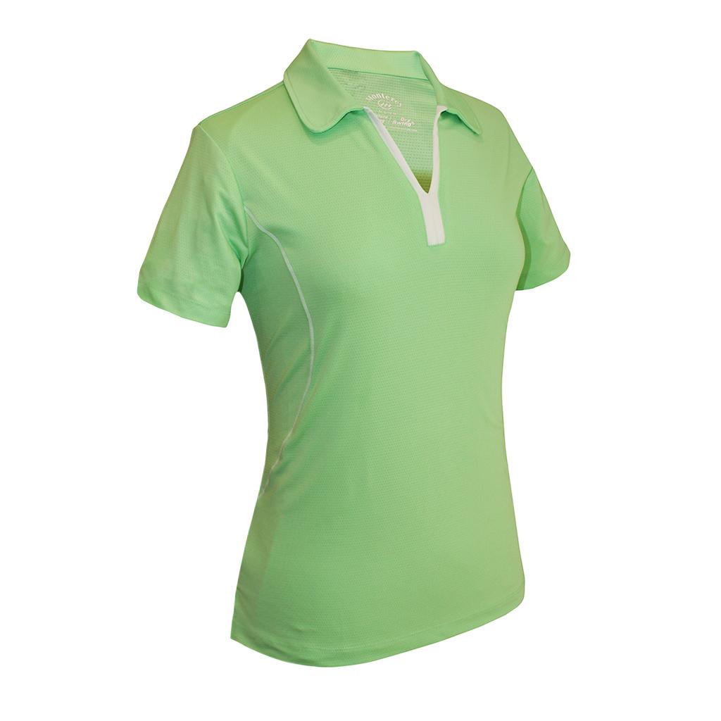 Monterey Club Ladies Dry Swing Dotty Contrast Garnish Overlock Shirt #2448